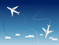 Two airplanes and clouds Royalty Free Stock Photos