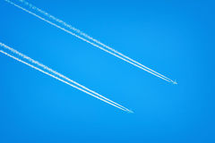 Two Airplanes in the Sky Royalty Free Stock Photo