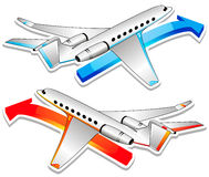 Two airplanes. Vector illustration. Transportation concept illustration. Two varicoloured airplanes Stock Illustration