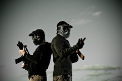 Two airsoft players stock photos