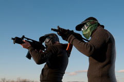 Two airsoft players royalty free stock images