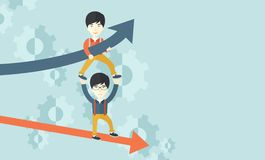Two aisan guy in two arrows going up and down Stock Photography