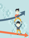 Two aisan guy in two arrows going up and down Royalty Free Stock Image