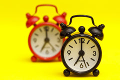 Two Alarm Clocks Stock Photos