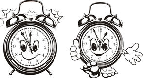 Two alarm clocks - black & white Royalty Free Stock Images