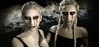 Horror portrait with two albino girls with bloody tears. Two albino girls with bloody tears and white hair at night in the dark stock image