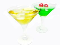 Two alcohol liqueur cocktail with cherry Royalty Free Stock Images
