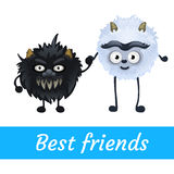 Two alien black and white furry characters Stock Photo