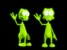 Two Alien's Waving. An image of two very friendly waving aliens Stock Photography