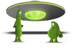 Two alien and spaceship vector illustration