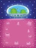 Two alien in UFOs. Have landed on a planet an illustration Stock Images