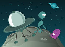 Two aliens and spaceship. Two alien on a deserted planet Stock Photography