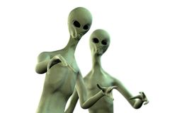 Two aliens on white background Royalty Free Stock Image