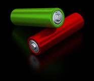 Two alkaline batteries on black background Stock Photo