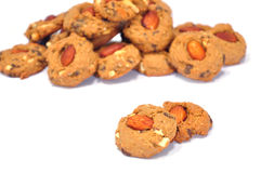 Two almond cookies. The twin almond choccolate cookies Royalty Free Stock Image