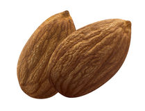 Two almond nuts isolated on white background stock photography