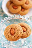 Two almond whole wheat cookies Royalty Free Stock Photography