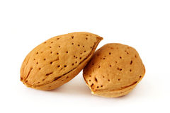 Two almonds in the shell Stock Photos