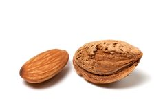 Two almonds on white background Royalty Free Stock Images