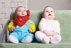 Two amazed babies Royalty Free Stock Image