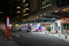 Two ambulance vehicles at the emergency center stock photography