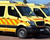 Two ambulances are waiting Stock Photos