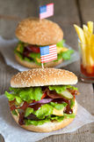 Two American burger with french fries Royalty Free Stock Photos