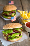 Two American burger with french fries Royalty Free Stock Images