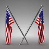 Two American flags hanging. 3d render Stock Image