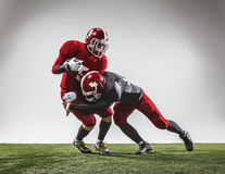 The two american football players in action Royalty Free Stock Photography