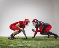 The two american football players in action Stock Photography