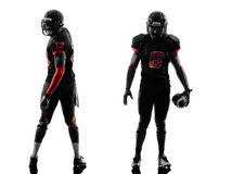 Two american football players posing silhouette Royalty Free Stock Photo