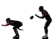 Two american football players on scrimmage silhouette Royalty Free Stock Images