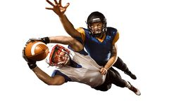 The two american football players studio isolated on white background stock photography