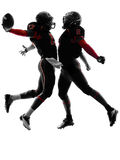 Two american football players touchdown celebration silhouette. Two american football players in touchdown celebration silhouette shadow on white background Stock Photos