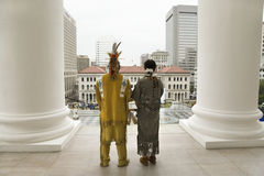 Two American Indian and Powhatan Tribal member. Looking over Richmond Virginia from State Capitol during ceremonies for the 400th Anniversary of the Jamestown Royalty Free Stock Photos