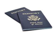 Two American Passports. Two United States of America Passports Isolated on White stock photo