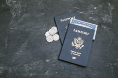 Two American passports and social security card on black background Royalty Free Stock Photography