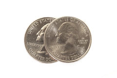 Two American quarters Stock Photo