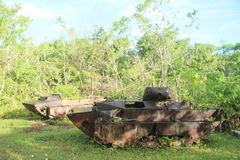 Two US tanks from WWII. Two American tanks from World War II in tropical forest on Peleliu island in Palau Royalty Free Stock Image