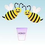 Two amusing drawn bees and bucket with honey on a blue backgroun Stock Image