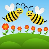 Two amusing drawn bees fly above red flowers on a blue backgroun Stock Photos