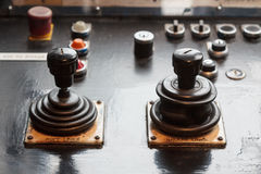 Two analog joysticks on a dashboard Royalty Free Stock Photography