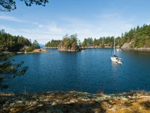 Two anchored sail boats in remote cove. Two anchored sailboats in Smuggler's Cove on the Sunshine Coast of British Columbia, Canada. Blue water and sky with tree Royalty Free Stock Photos