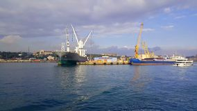 Two Anchored Ships at Port of Istanbul, Turkey stock footage