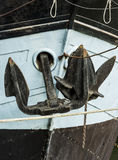 Two Anchors on Black Ship Stock Images