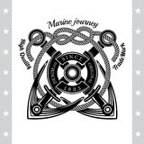 Two Anchors Cross With Rope. Sea Vintage Black Label Royalty Free Stock Images