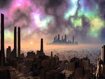 Two Ancient Alien Cities with Aurora Sky stock illustration