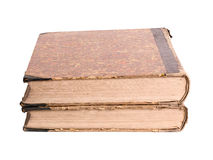 Two ancient books on a white background Royalty Free Stock Images
