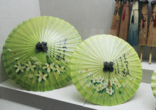 Two Ancient Chinese green umbrellas Royalty Free Stock Image